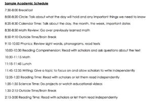 English Schedule